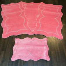 ROMANY WASHABLES NEW GYPSY SET OF 4PC BABY PINK MATS NON SLIP TOURER SIZE RUGS